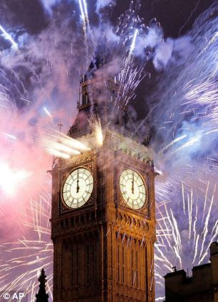 Spectacular: Sparks fly form the world-famous London landmark in 2011/12