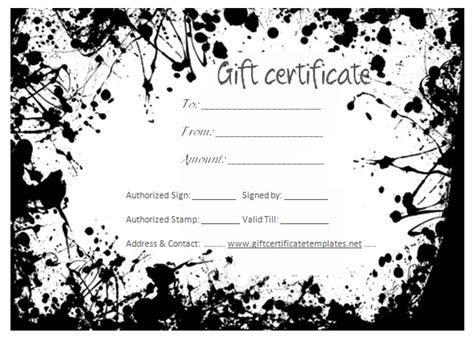 Black splashes gift certificate template   Beautiful