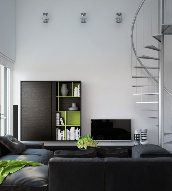 Triple D- Modern Monochrome Green Apartment living modular lounge