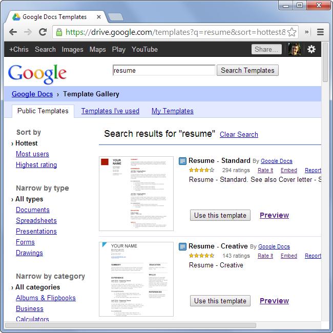 browse-google-docs-resume-templates