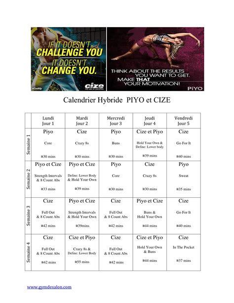calendrier hybride piyo  cize exercise fitness