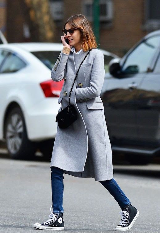 Le Fashion Blog Ways To Wear Black High Top Converse Sneakers Grey Coat Chanel Crossbody Bag Skinny Jeans Model Style Alexa Chung Via Miss Sheffield