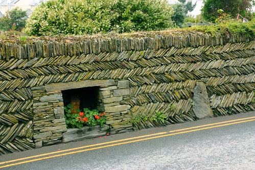 Stacked Stone Wall in the town of Tintagel