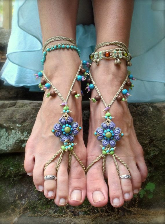 Beaded Barefoot Jewelry | PURPLE BAREFOOT SANDALS beaded crochet sandals foot jewelry beach ...