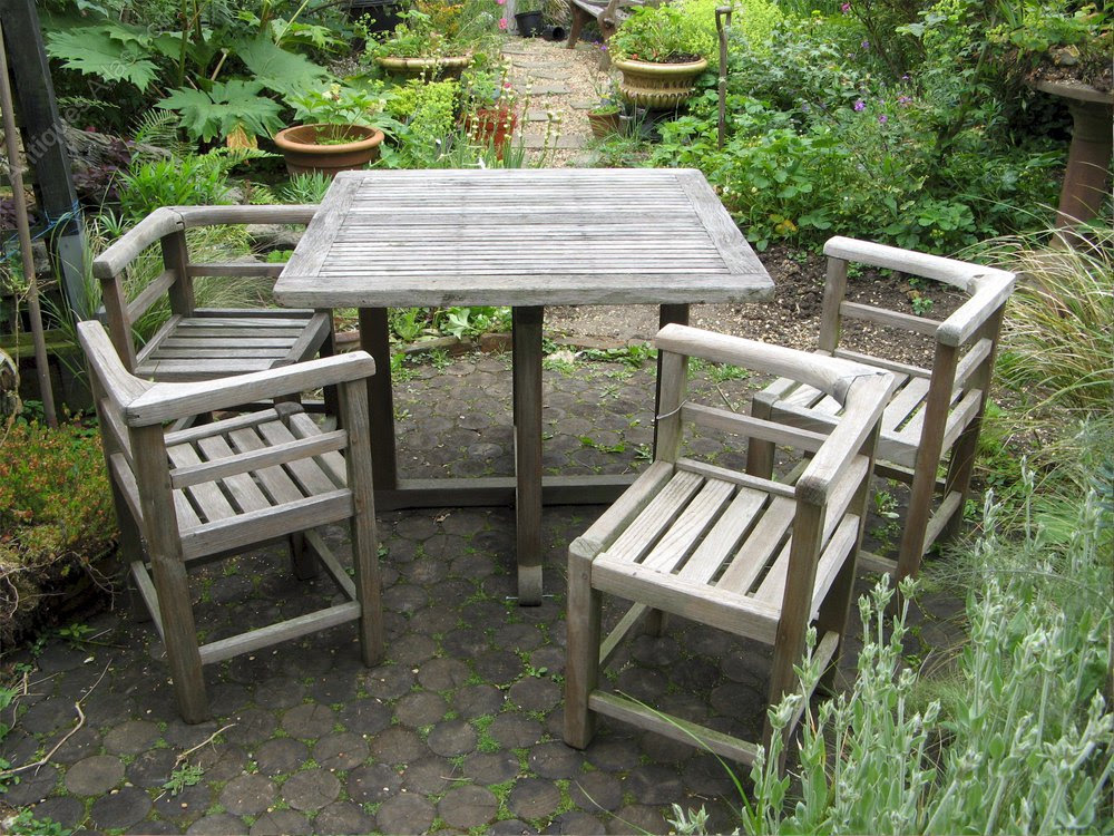 Antiques Atlas - Weathered Teak Garden Set Of Table And ...