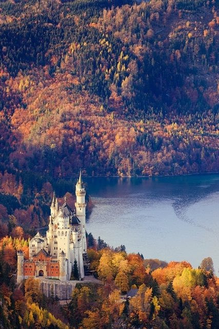 "As a little girl I would stare out my window at what I called ""Cinderella's castle"" from our apartment window in Neuschwanstein. Little did I know, Disney modeled Cinderella's castle after it. (& Hitler used this castle as storage. The SS planned to destro"
