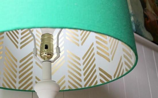 استخدام ورق الحائط لتزيين أباجورة من الداخل