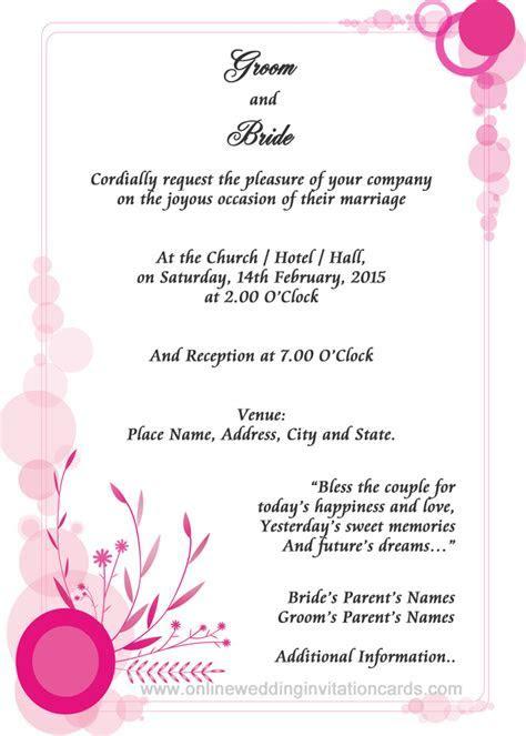 online wedding invitation sample Examples of wedding