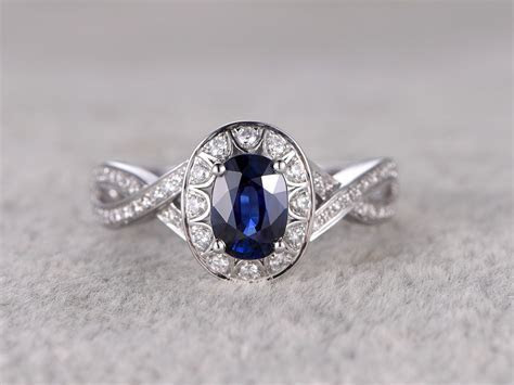 1.18ctw Natural Sapphire Engagement ring,Curved Loop