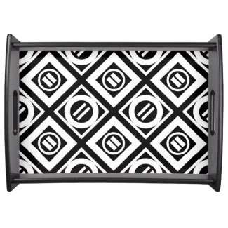 White Equal Sign Geometric Pattern on Black Service Trays