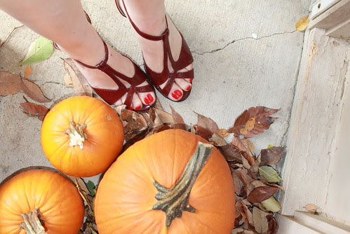 Target t-strap shoes and pumpkins