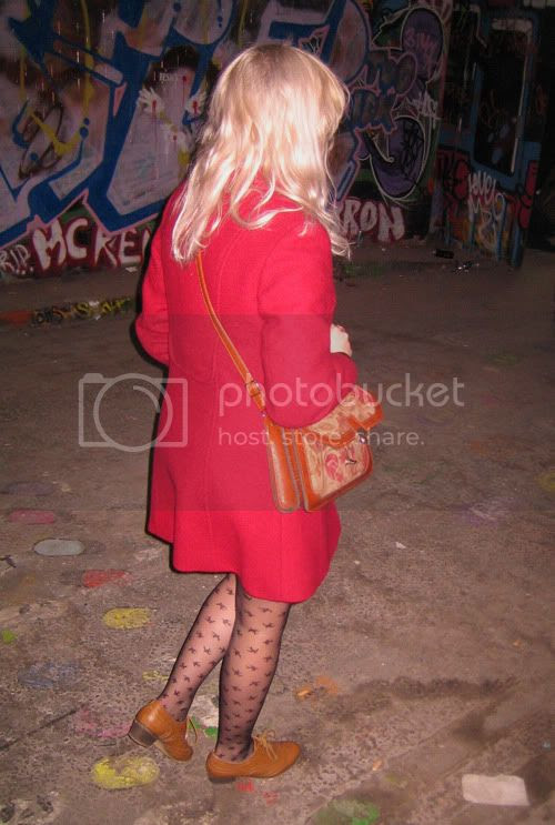 "Vintage burgundy Princess Pea coat"" title="
