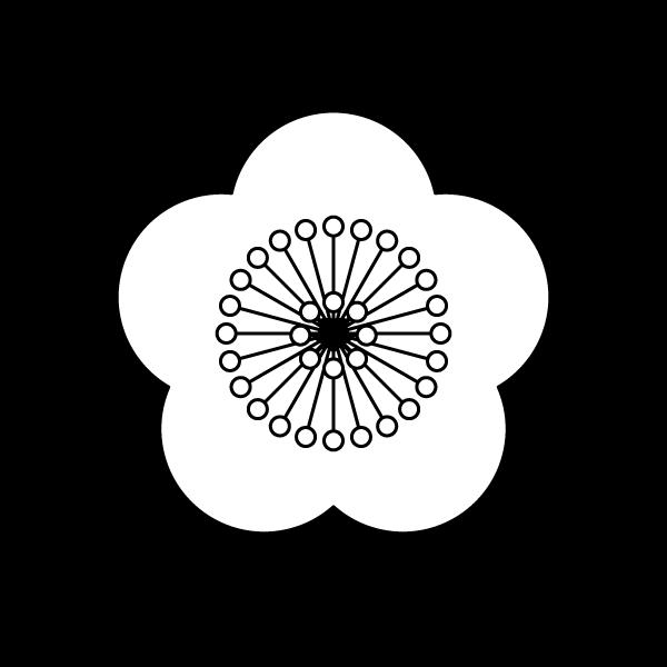塗り絵に最適な白黒でかわいい梅の花の無料イラスト商用フリー