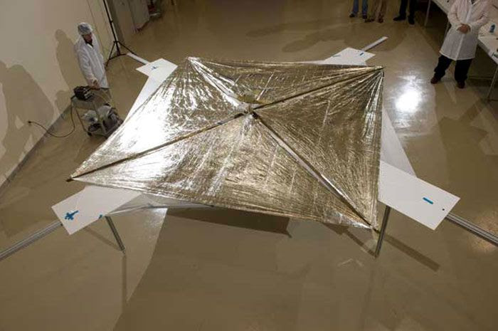 With its sail fully deployed, NanoSail-D undergoes processing before its launch on November 19, 2010.