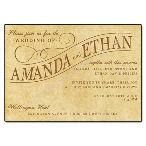 Vintage Paper Wedding Invitations UK