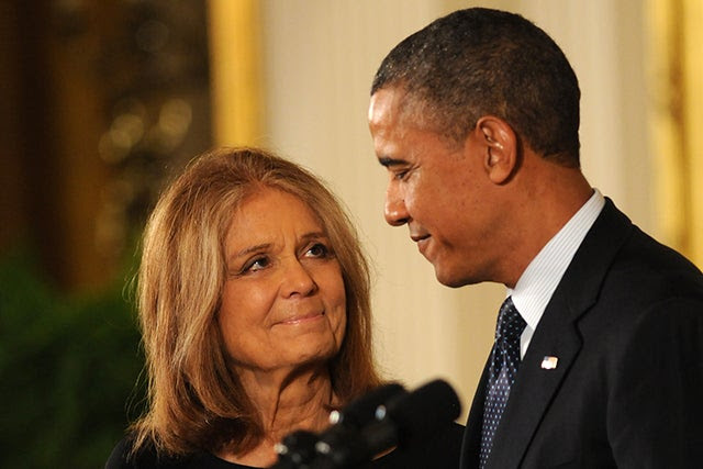 President Barack Obama and feminist Gloria Steinem before Steinem received the Presidential Medal of Freedom in 2013. Photo: Paul Hennessy/Polaris/Newscom