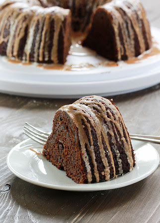 Chocolate Pumpkin Cake with Spiced Glazes