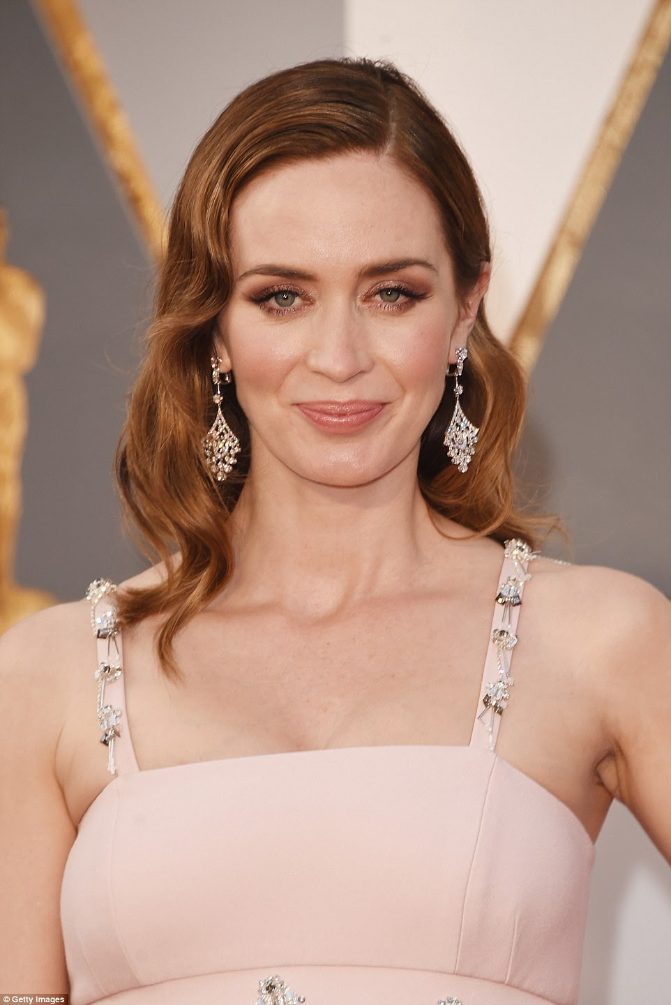 Drop dead gorgeous: The beauty showed off some seriously expensive dangly diamond earrings on the red carpet