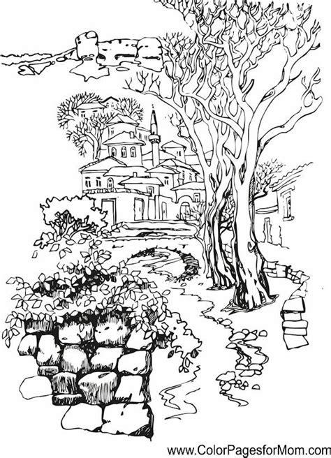 landscape coloring page  cizimler cizilecek seyler ve