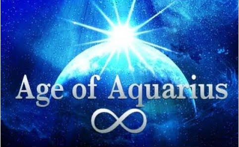 Age of Aquarius with back ground Earth and infinity symbol