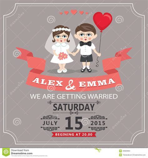 Wedding Invitation With Cartoon European Baby Bride And