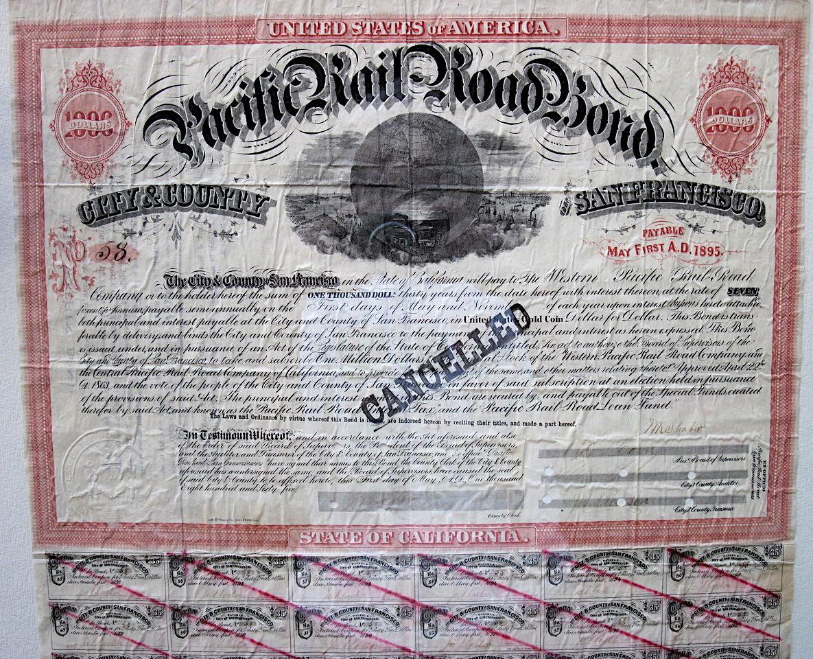 Pacific railroad bond, 1865
