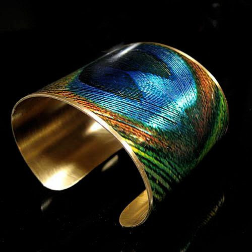 Photo Cuff, Brass Cuff, Wide Cuff Bracelet, Altered Art Jewelry, Photo Jewelry - PEACOCK Feather - Sealed in Resin - FREE SHIPPING. $38.00, via Etsy.