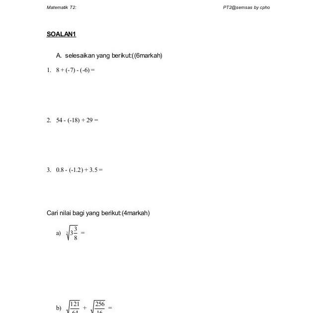 Soalan Matematik Tingkatan 2 Format Pt3 Kebaya Muda