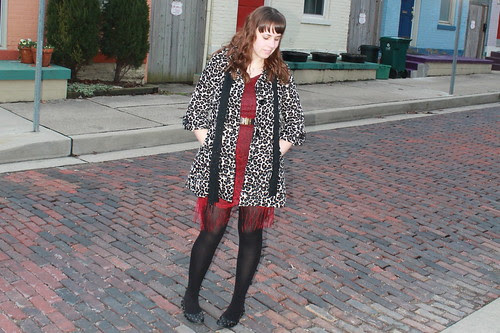 Anniversary outfit: vintage fringe dress, vintage Moschino belt, vintage beaded scarf, leopard brocade coat