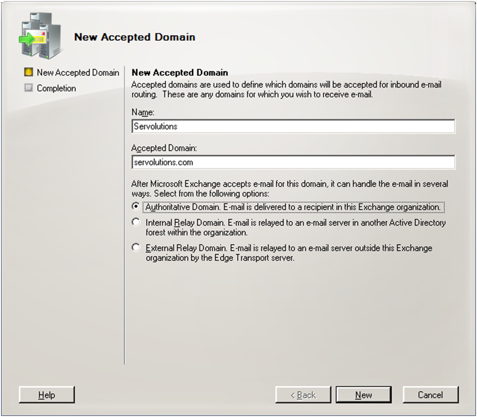 Exchange 2007 new accepted domains