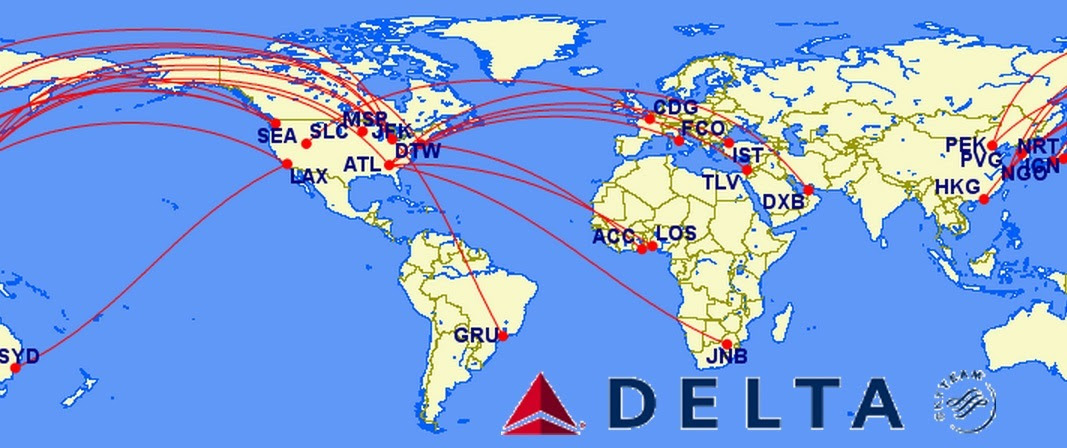 Delta Airlines Hub Map - United Airlines and Travelling