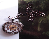 20% HOLIDAY SALE Silver Necklace Pendant Sun Flower bronze Pocket Watch quartz Gift Chain E215