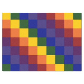 "Checkered Rainbow Tissue Paper 17"" X 23"" Tissue Paper"