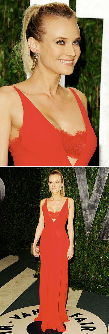 DIANE KRUGER 2012 VANITY FAIR OSCARS AFTER PARTY RED LONG DRESS CLEAVAGE RED LACE LOW CUT PLUNGING SEXY NECKLINE LONG GOLD EARRINGS BEAUTY, via just jared