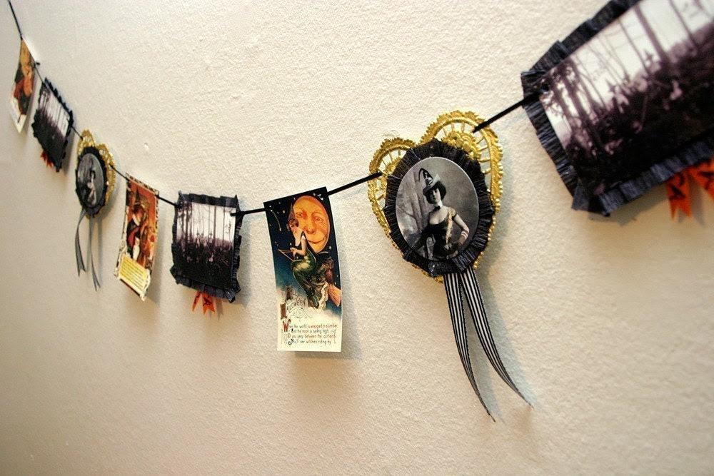 Victorian Witch Halloween Garland Vintage Inspired