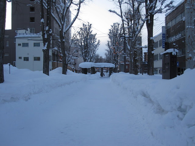Largest street filled with snow
