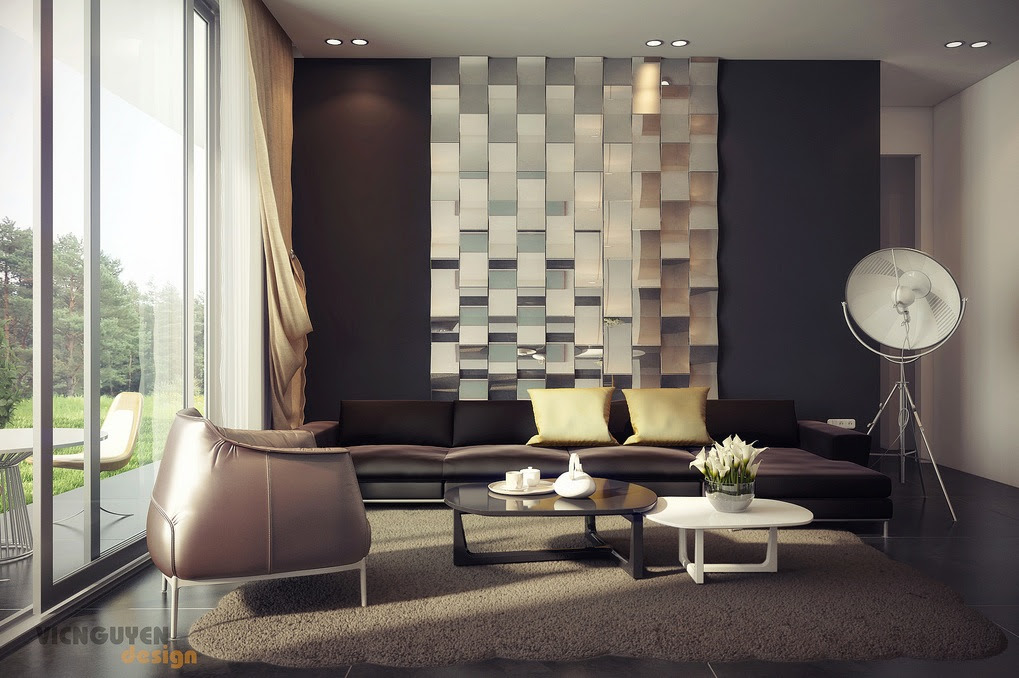 Rich Palette Living With Mirrored Feature Wallinterior Design Ideas