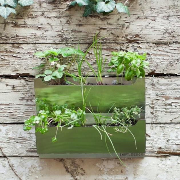 Rectangle Metal Wall-Mounted Cedar Herb Garden Planter - modern ...