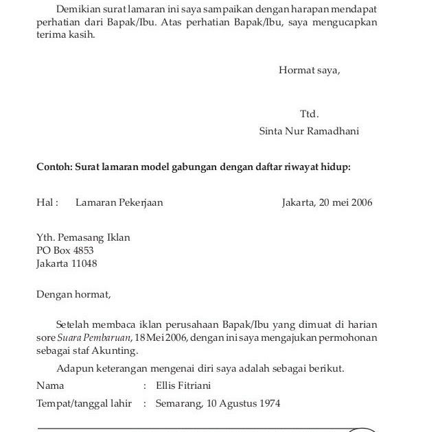 Contoh Surat Lamaran Kerja Model Gabungan Contoh Jel