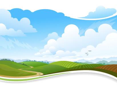 高原山田舎風景のイラストaieps ベクタークラブイラストレーター