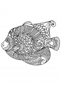 Fishes wave patterns - Fishes Adult Coloring Pages