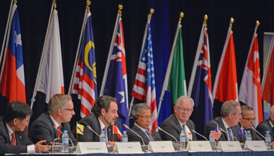 Trade representatives attend at a press conference for the Trans-Pacific Partnership, a pan-Pacific trade agreement involving 12 nations, in Sydney in 2014. AFP