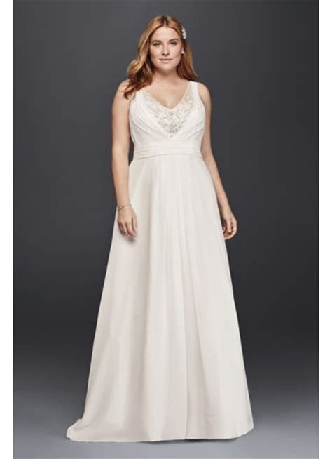 A Line Plus Size Tank Wedding Dress   David's Bridal