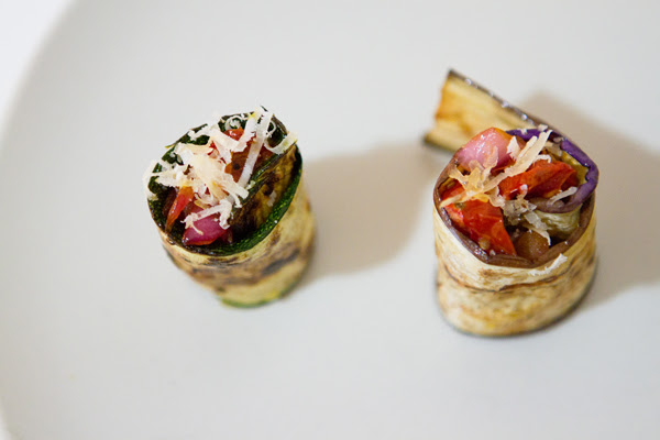 grilled zucchini eggplant roll...