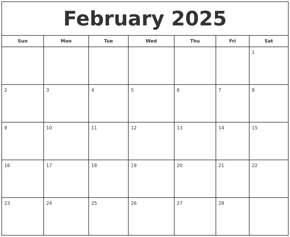 february 2025 print free calendar