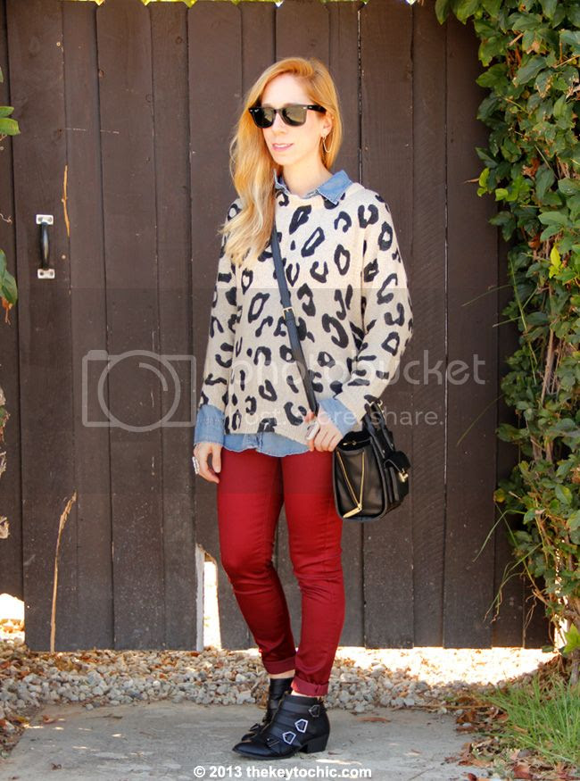 Charlotte Russe leopard print sweater and burgundy skinny jeans, Sam & Libby for Target Paxton boots, Phillip Lim for Target black mini satchel