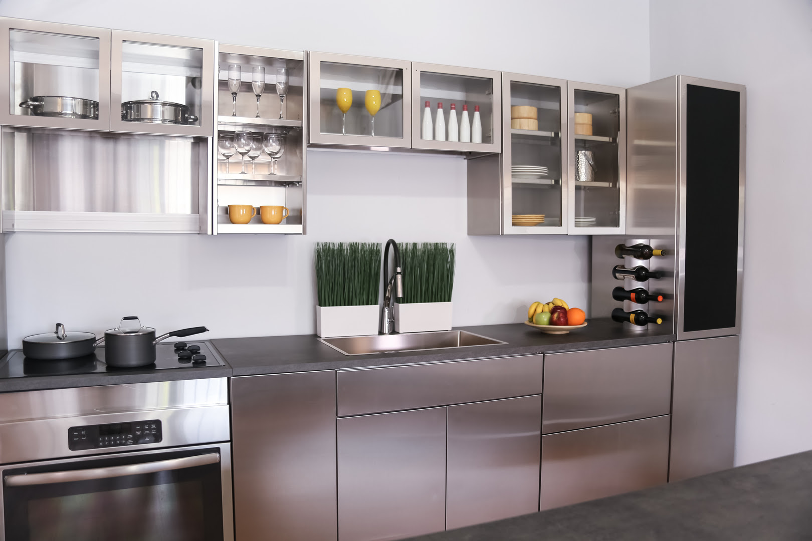 Plush Stainless Steel Kitchen Cabinets