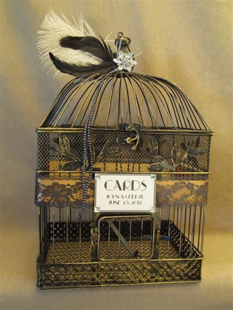 Art Deco Wedding Card Box Bird Cage / Bling / Feathers