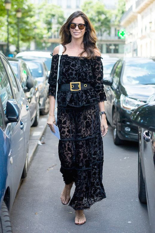 Le Fashion Blog Street Style Vacation Look Sunglasses Sheer Lacy Off The Shoulder Dress Chunky Belt Light Blue Shoulder Bag Sandals Via Harpers Bazaar