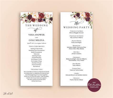 Editable Wedding Program Template, Order Of Ceremony